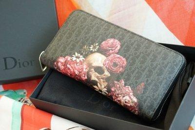 Dior 2VDBC011XLV zipped wallet 骷髏頭拉鍊長夾 黑灰