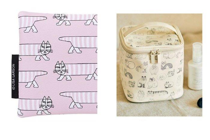兩件組!【現貨】日本雜誌附贈 北歐風 Lisa Larson 刺蝟 貓 化妝箱 化妝包 收納袋 小物包 收納包
