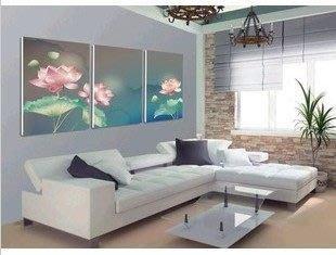 【優上精品】現代家居裝飾畫三聯畫無框畫 客廳背景墻掛畫 荷花餐廳壁畫(Z-P3259)