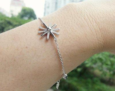 嗨,寶貝銀飾珠寶* 925純銀☆情人節禮物 時尚精品 細緻 氣質 太陽 鋯石貝珠純銀手鍊