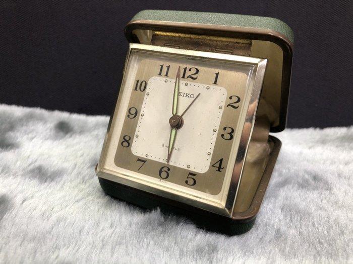 【JP.com】日本帶回中古美品 SEIKO 日本製 置時計 發條式 便攜型鬧鐘 綠色