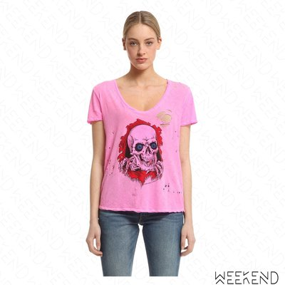 【WEEKEND】 UNRAVEL 破損 骷髏頭 短袖 淺桃紅色 粉紅色 T恤 上衣
