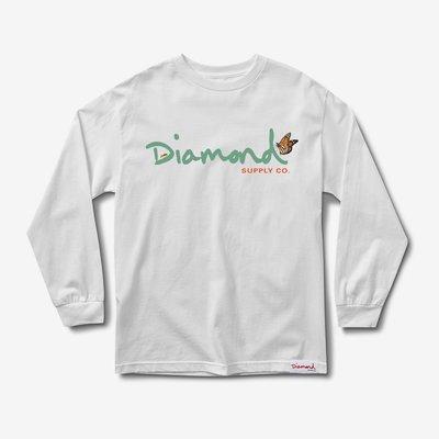 [CABAS滑板店] DIAMOND PARADISE OG SCRIPT L/S 白色 | 薄長袖 滑板 鑽石