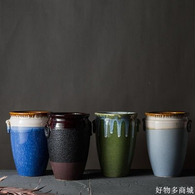 好物多商城 多肉老樁花盆高筒花瓶大號復古做舊陶罐文藝透氣陶瓷法師花盆創意
