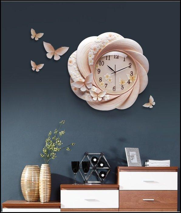 波麗浮雕時鐘 立體粉橘花卉蝴蝶石英鐘造型鐘靜音時鐘掛鐘壁鐘圓鐘壁飾牆面居家裝飾佈置品歐式古典風格【歐舍家飾】