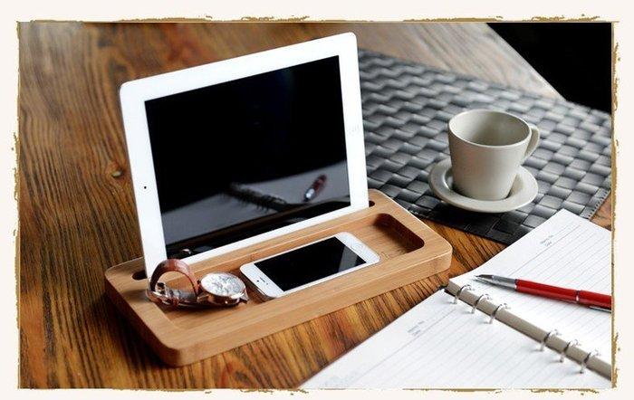 創意竹製品 辦公桌面收納盒竹木桌上置物架化妝品文具平板整理盒_☆找好物FINDGOODS☆