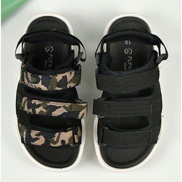 【富發牌】33ML130 無重力兩穿兒童涼拖鞋-迷彩/黑【采靚鞋包精品】