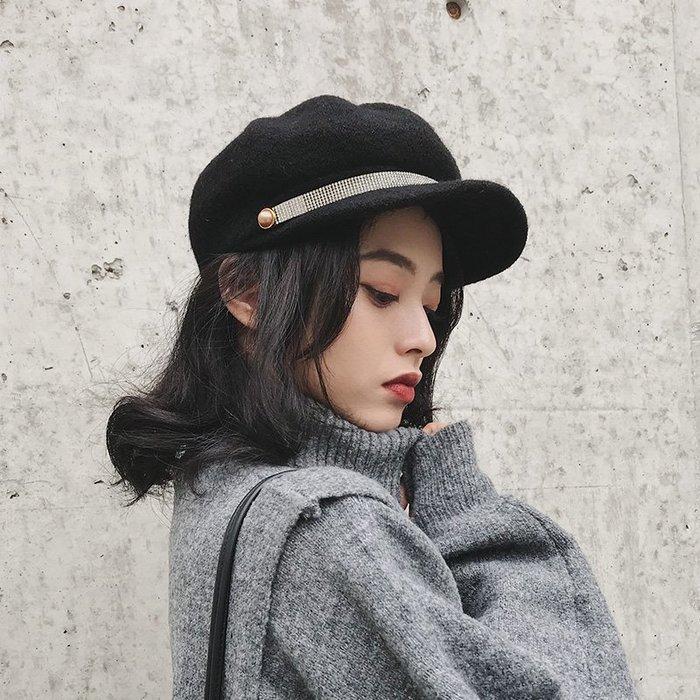 衣萊時尚-熱賣款 美歐慧 秋冬硬挺立體八角帽子女網紅英倫羊毛呢黑色貝雷百搭禮帽