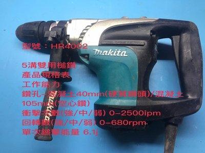 (二手中古外匯) 牧田  Makita MAKITA   HR4002 免出力 5溝 雙用槌鑽 植筋機