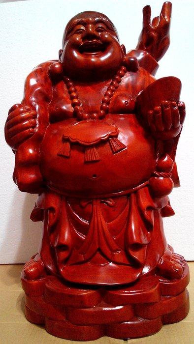 【九龍藝品】紅花梨木 ~ 彌勒佛 ~ 布袋福神.金元寶財神.高約50公分