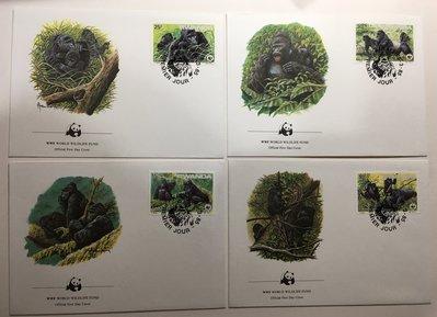 【郵卡庫】【WWF】【靈長類】盧安達1985年山地大猩猩 4全  EN0266