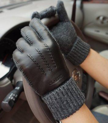 手套 保暖秋冬男士經典羊毛毛線手套 羊皮保暖觸屏純手工縫制