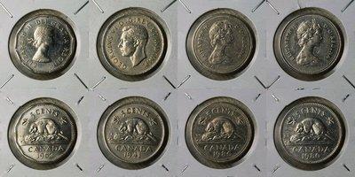 加拿大 1941、1962、1980、1986年 5 CENTS 鎳幣 XF~UNC 共4枚一起標【A2070】