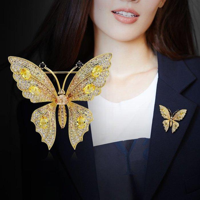 蝴蝶胸針高檔女奢華大氣西裝胸花配飾大別針固定衣服裝飾xongzhen