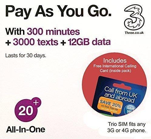 3UK-歐洲30天12GB上網卡電話卡網路卡(瑞士法國義大利英國西班牙瑞典芬蘭挪威奧地利丹麥愛爾蘭)