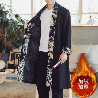 秋季中國風男裝披風斗篷中長款風衣開襟外套男士亞麻上衣龍袍大衣