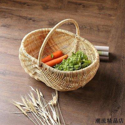 麵包籃 編織籃 提籃 野餐用品 收納籃 藤編橢圓形提籃桌面提手儲物籃面包籃花籃野餐水果籃