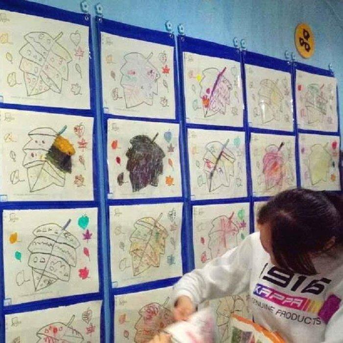 【週年度促銷】幼兒園寶寶圖書繪畫美術作品展示資料收納牆壁掛袋