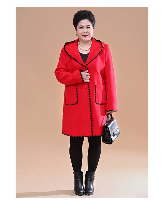 3687F 紅色中長款連帽韓版厚單排兩粒扣XL-7XL秋冬婆婆裝媽媽裝風衣女裝外套大尺碼大碼超大尺碼
