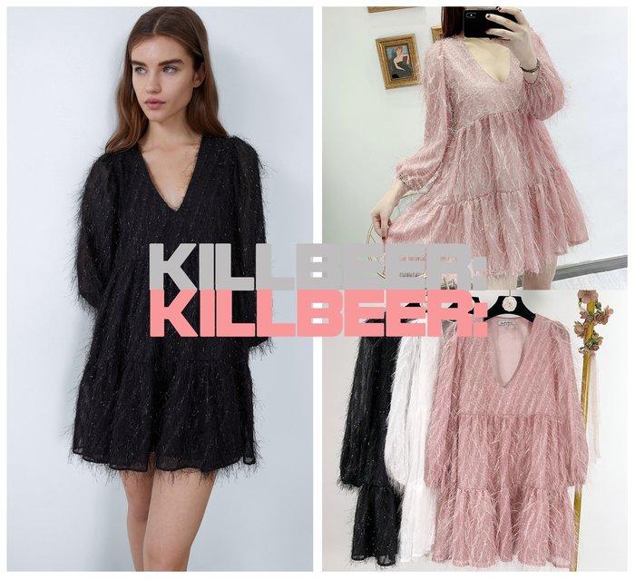 KillBeer:仙女是怎樣煉成的之 歐美復古仙氣立體羽絲金屬光澤繡線性感V領透膚燈籠袖連身裙洋裝 010408