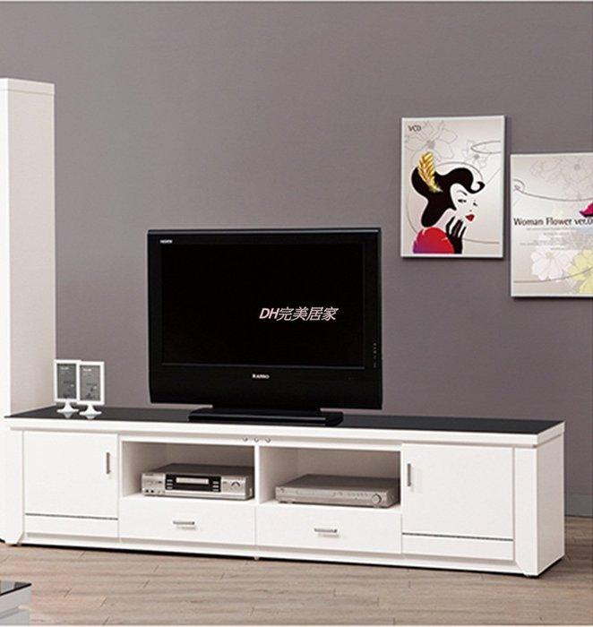 【DH】商品貨號《魯邦》白色7尺電視櫃 (圖一)附8mm強化+大/小茶几含8mm強化玻璃