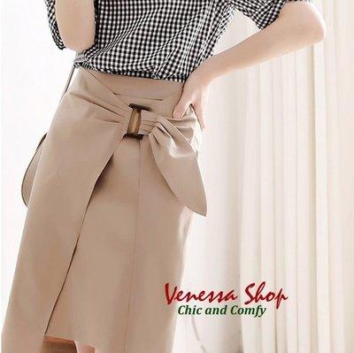 歐單 新款 日雜推薦 前片雙層結飾設計 夏日舒適薄款 OL修身包臀H型及膝裙 特價 (U878)