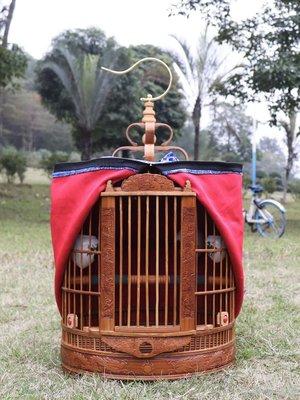 百樂美商城 籠鸚鵡八哥籠子雕刻雕大號畫眉鷯哥鳥精品竹制鳥籠花雕龍老竹