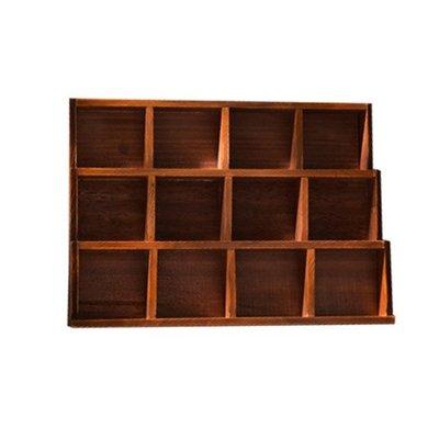 田園木製3層格架 實木展示12格木櫃 三層12小格分隔置物架 質感玩具小物收納架 樓梯形小公仔擺飾木架 階梯造型原木層架