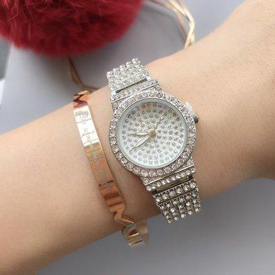 手錶 配飾 日系文藝滿天星表盤鑲鉆女表 3色合金鋼帶滿鉆石英女表無刻度手表