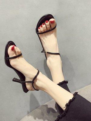 小尤家~涼鞋女新款韓版百搭尖頭一字扣帶羅馬鞋韓版網紅仙女高跟鞋潮