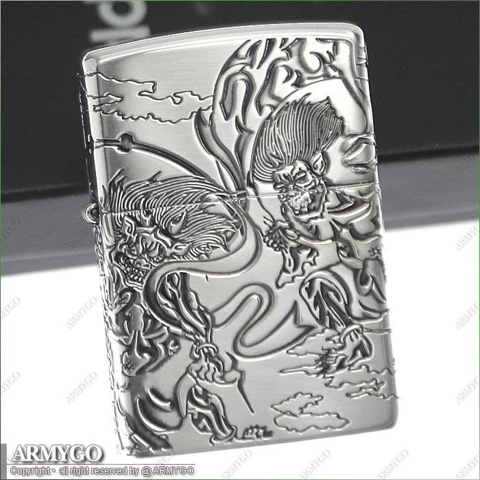 【ARMYGO】ZIPPO原廠打火機-日系-風神雷神系列- (銀色款)