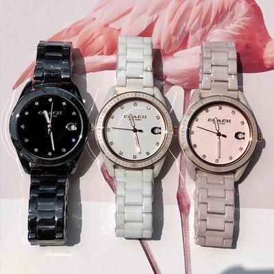 【Woodbury Outlet Coach 旗艦館】COACH 14503264 陶瓷錶帶手錶 石英女錶 腕錶美國代購