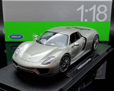 【MASH】現貨瘋狂價 Welly NEX 1/18 Porsche 918 Spyder Hard-Top 灰