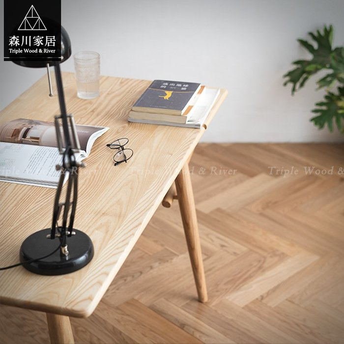 《森川家居》NST-01ST02-北歐設計全實木梣木書桌 萬用桌辦公桌書房民宿/餐桌餐椅收納/美式LOFT品東西IKEA