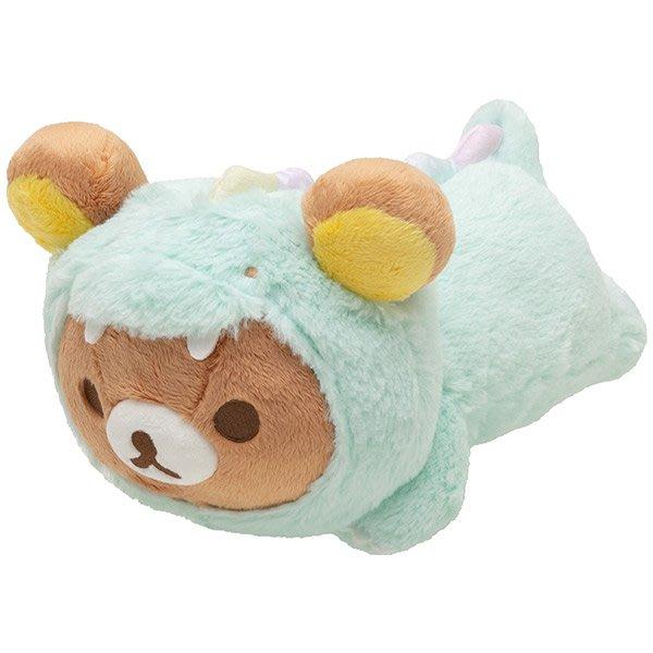 (現貨在台)日本正品Rilakkuma 拉拉熊 懶懶熊 San-X 公仔 絨毛娃娃 抱枕 靠枕 午安枕 趴姿 綠色恐龍