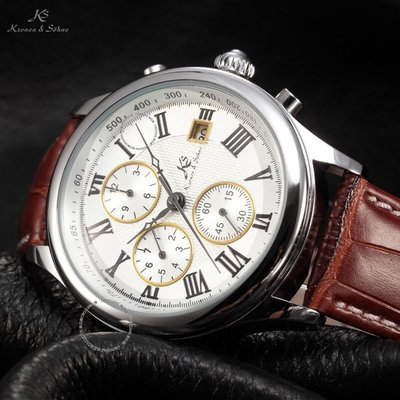 KS Men White Silver Date Day Leather Automatic Mechanical Wrist Watch 男錶