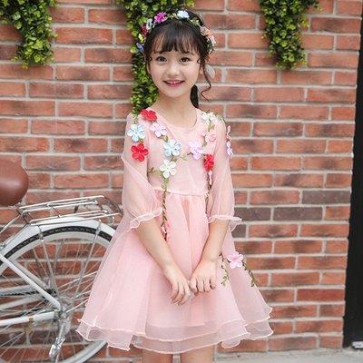 女童禮服公主裙2019新款蓬蓬裙夏季花仙子連衣裙女孩演出禮服TATA320