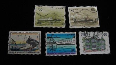 【大三元】日本郵票-8.船.傳統建築-銷戳票-5枚