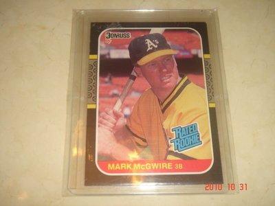 美國職棒 Dodgers 打擊教練 Mark McGwire 1987 Donruss #46  RC 新人卡 球員卡