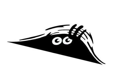 黑色/白色 20x8cm 偷看精靈汽車貼紙Peeking Monster 車貼 汽車裝飾貼紙 個性拉花貼