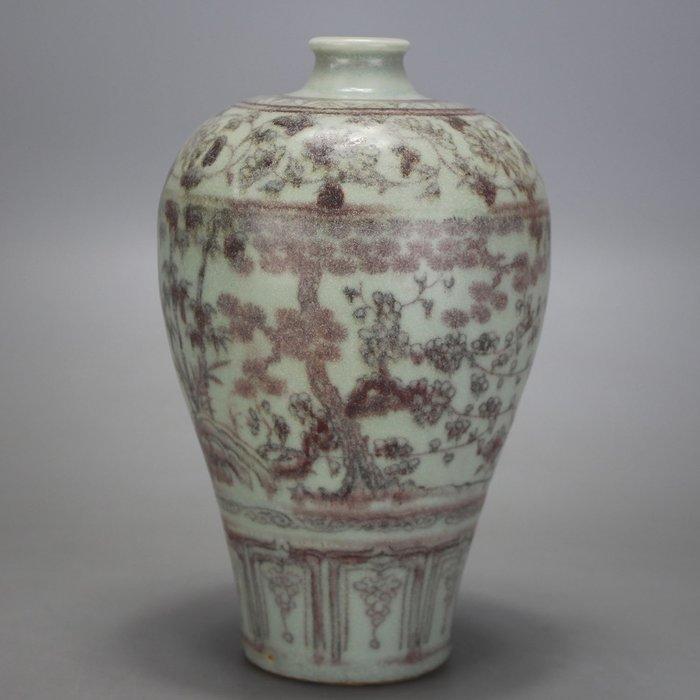 藏寶閣 元代出土釉裏紅松竹梅紋梅瓶 古玩 民間收藏古玩 古瓷都苑