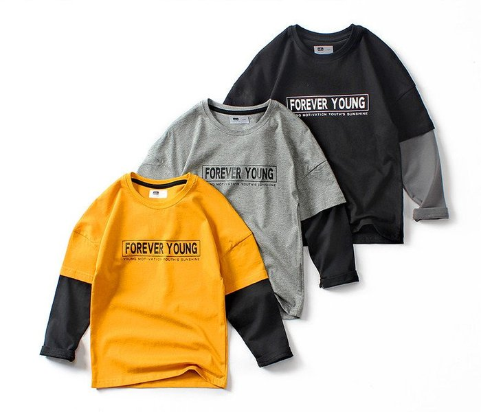 [C.M.平價精品館]120~160/新品特價帥氣有型100%純棉假兩件長袖T恤   小童/中大童