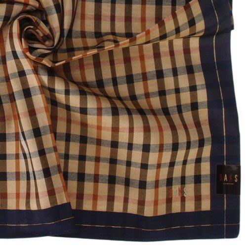 【姊只賣真貨】DAKS經典格紋LOGO刺繡領巾手帕帕巾(藍邊) 父親節88節禮物