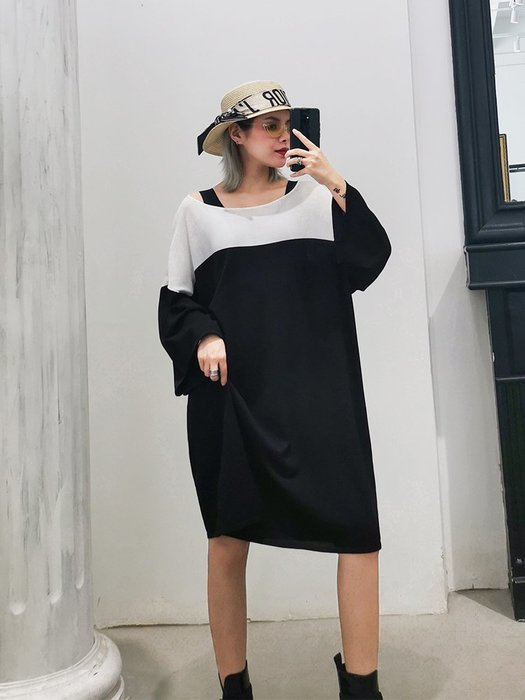 YouDo AT 個性針織連衣裙高端減齡法式氣質顯瘦港風a字裙
