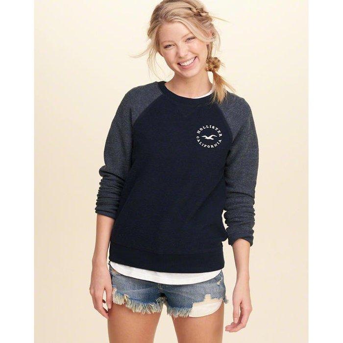 美國百分百【全新真品】Hollister Co. 大學T HCO 長袖 T恤 海鷗 女款 深藍 上衣 XS號 H866