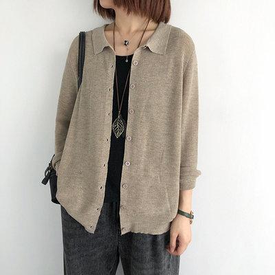 6%羊毛【T12874】1B23實穿翻領薄款針織衫6色F.預購。小野千尋