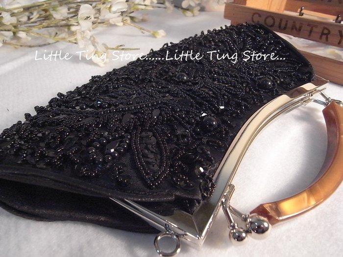 Little Ting Store:繡珠提把晚宴包古董包新娘包手拿包婚禮禮物/可搭名媛小禮服 黑