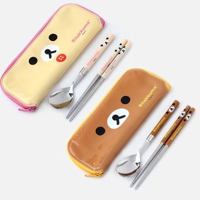 ♀高麗妹♀韓國 Rilakkuma リラックマ 拉拉熊.懶懶熊 不鏽鋼筷子+湯匙+餐具袋 三件式環保餐具組(預購)