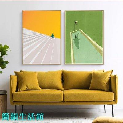 夢云朵藍綠色插畫玄關藝術裝飾畫客餐廳三聯畫創意壁掛大幅樣板間【簡韻生活館】