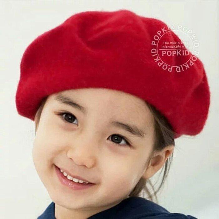 ZN 韓國女童帽 貝蕾帽 小紅帽 毛帽 畫家帽 玫紅色現貨